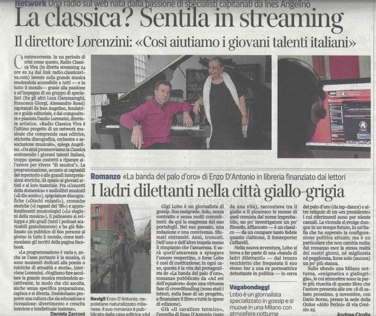 Articolo sulla Web Radio di ClassicaViva uscito sul Corriere della Sera il 3 novembre 2013